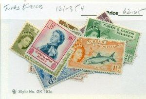 TURKS & CAICOS #121-35, Mint Hinged, Scott $62.65