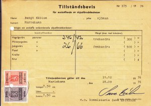 1976, Finland Revenue on a Permit to Own a Gun (S18631)