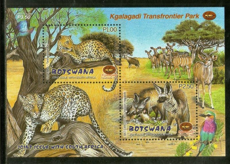 Botswana 2001 Leopard Bat Eared Fox Wildlife Animal Fauna Sc 717a M/s MNH #12951