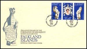 Falkland Islands 275a-275c Queen Elizabeth II Silver Jubilee U/A FDC