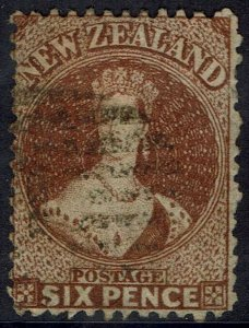 NEW ZEALAND 1864 QV CHALON 6D WMK LARGE STAR PERF 12.5 USED
