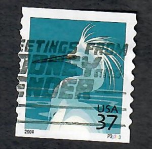 US #3829A Snowy Egret Used PNC Single Plate #P33333
