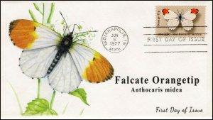 AO-1715,1977, Orangetip Butterfly, Add-on Cachet, FDC, SC 1715,