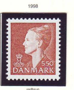 Denmark Sc 908 1998 5.50 kr henna brown Queen stamp mint NH