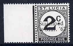 St Lucia 1967 Postage Due 2c with Statehood 1st Mar. '67 ...
