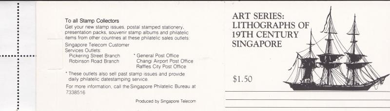 Singapore 1990 Lithographs of 19th Century Singapore River BOOKLET VF/NH(**)