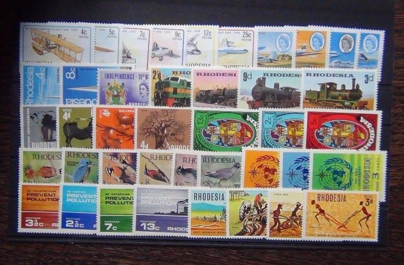 Rhodesia 1965 1978 sets WMO Railways  Birds Nature Trade Flights Pollution MNH