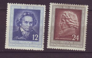 J24123 JLstamps 1952 germany DDR set mhr #96-7 famous people