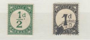 Barbados KGV 1934 1/2d 1d Postage Dues MH/VFU J5907