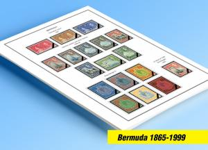 COLOR PRINTED BERMUDA 1865-1999 STAMP ALBUM PAGES (86 illustrated pages)