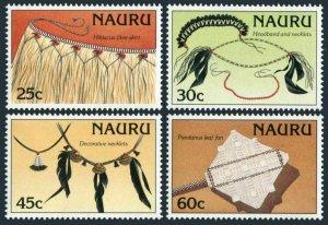 Nauru 334-337,MNH.Michel 333-336. Artifacts 1987.Shirt,Headband,Necklaces,Fan.