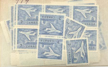Canada - 1964 7c Jet X 100 mint #414 Most VF- All NH Inc. Blocks