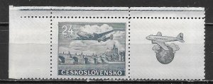 Czechoslovakia C25 24k Plane Tab single MNH (z2)