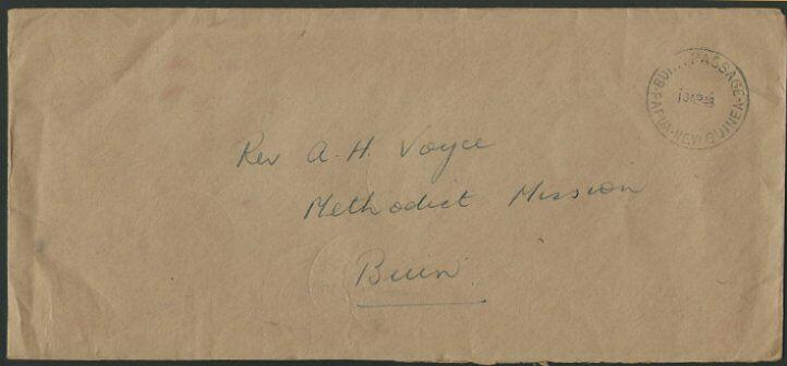 PAPUA NEW GUINEA 1948 Official stampless cover BUKA PASSAGEA cds...........65227