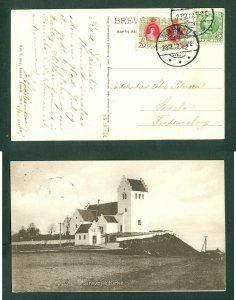Denmark. Christmas Photo Card 1912. Morkov. 5 Ore + Seal. Faarevejle Church