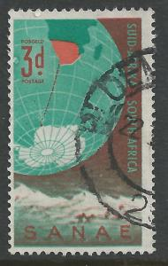South Africa #220 3p Globe Showing Antarctica & South Africa