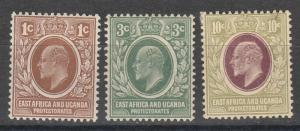 EAST AFRICA AND UGANDA 1907 KEVII  1C 3C AND 10C