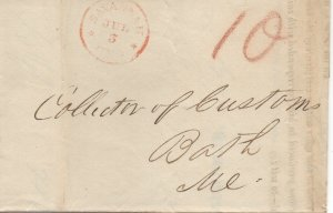 Georgia Stampless Cover, Savannah July 3, 1845 Customs Notice Bordeaux