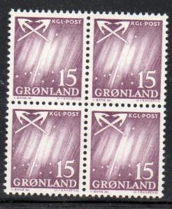 Greenland Sc 52 1963 15 ore Northern Lights stamp block of 4 mint NH