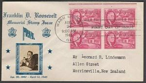 USA 1945 CROSBY photo FDC to New Zealand - 2c Roosevelt block..............55595