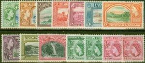 Trinidad & Tobago 1953-55 set of 14 SG267-278a Fine Very Lightly Mtd Mint