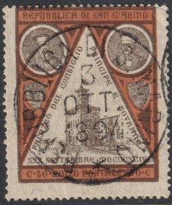 Sc# 30 Italian San Marino 1894 used 50c issue CV $9.50