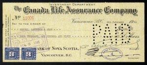 C6 Canada Life Assurance Co. bank draft, 1941, revenue stamp Van Dam #FX64 pair