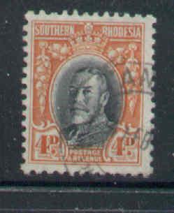 Southern Rhodesia-Sc#21b-used 4p orange red & black KGV-perf 11.5-1935-