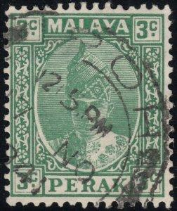 Perak 1941 KGVI 3c Green Ordinary Paper Used