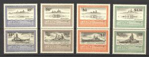St. Vincent Grenadines Bequia Sc#186-189 MNH Pairs se-tenant 1985 WWII Warships