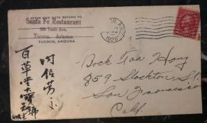 1928 Tucson AZ USA Commercial Cover To San Francisco Ca Chinese Writing