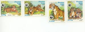 1984 Laos WWF Tiger (Scott 517-20) MNH