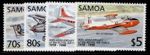 SAMOA QEII SG1029-1032, 1998 80th anniv of RAF set, NH MINT.