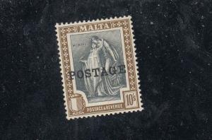 MALTA # 129 VF-MLH 10sh POSTAGE DUE