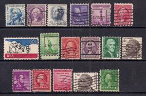 USA Mixed Selection of 17 stamps ( 349 )