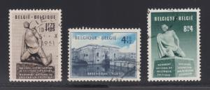Belgium Sc B495-B497 used 1951 National Monument complete, VF
