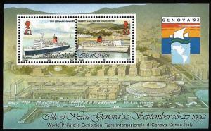 G)1992 ISLE OF MAN, SHIP, KING ORRY V, DOUGLAS HARBOUR, GENOVA' 92 S/S, MNH