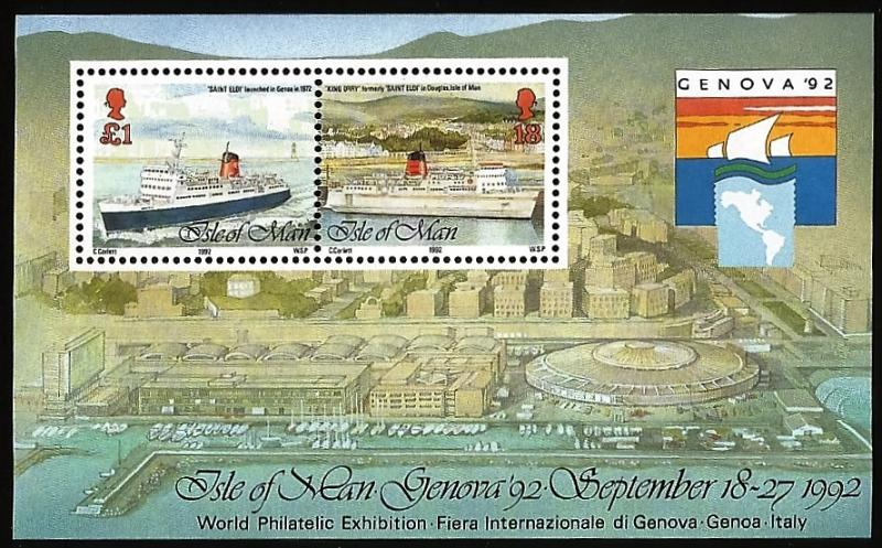 G)1992 ISLE OF MAN, SHIP, KING ORRY V, DOUGLAS HARBOUR, GENOVA' 92 S/S, MNH
