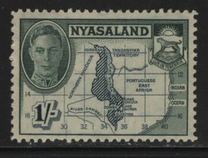 NYASALAND, 76, HINGED, 1945, MAP AND COAT OF ARMS