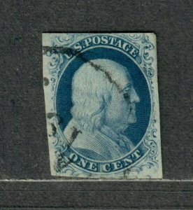 US Sc#7 Used/F-VF, Type II, Cv. $135