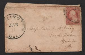 $US Sc#25a type II scarce stamp on cover, Wilmington Del. sm. faults, Cv. $950