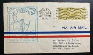 1934 Missoula MT USA First Flight Airmail Cover FFC To Norfolk VA