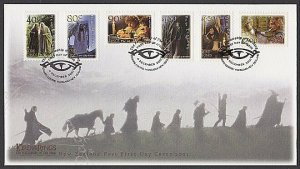 NEW ZEALAND 2001 Lord of the Rings self adhesive set FDC...................R116a