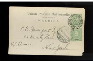 1906 Funchal Madeira Postcard Cover to USA