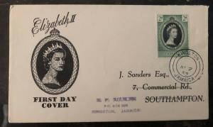 1953 Kingston Jamaica QE 2 Coronation First Day Cover Queen Elizabeth FDC Local