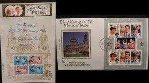 1981 Royal Wedding Charles & Diana Isle of Man + Guernsey MS Benham BMS6 & BGS4
