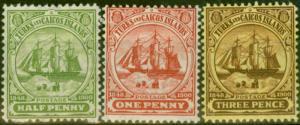 Turks Islands 1905-08 set of 3 SG110-112 Fine Lightly Mtd Mint