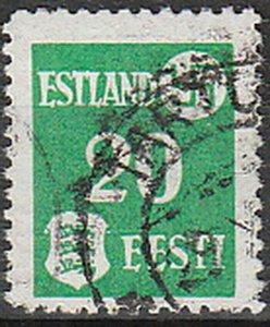 Stamp Germany Estland Mi 02 WWII 1941 War Occupation Emblem Estonia Used