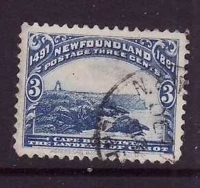 Newfoundland-Sc#63-used 3c ultramarine Cape Bonavista-1897-Nfw219 -