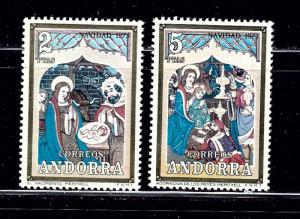 Spanish Andorra 77-78 MNH 1973 Christmas